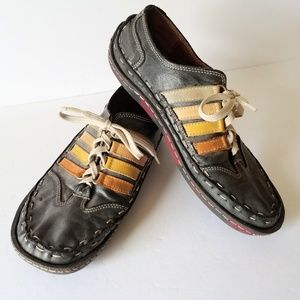 Navy Leather Shoes Dark Casual Shoes by Evet (Yes)